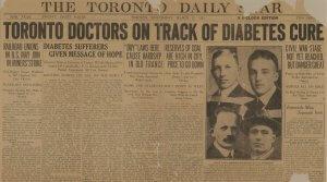 Ovo je naslovnica Toronto Daily Star, 22. ožujka 1922. godine. Govori o postignućima Bantinga i Best-a vezanim za liječenje dijabetesa    inzulinom.